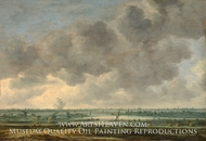 River View with a Village Church painting reproduction, Jan Van Goyen