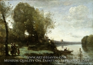 River with a Distant Tower by Jean-Baptiste Camille Corot