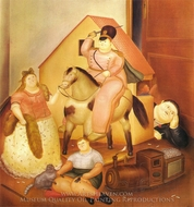 Room with Children's Games painting reproduction, Fernando Botero