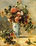 Roses and Jasmine in a Delft Vase painting reproduction, Pierre-Auguste Renoir