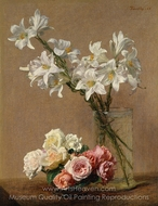 Roses and Lilies painting reproduction, Henri Fantin-Latour