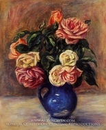 Roses in a Blue Vase by Pierre-Auguste Renoir