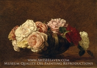 Roses in a Bowl painting reproduction, Henri Fantin-Latour