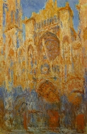 Rouen Cathedral at the End of Day, Sunlight Effect painting reproduction, Claude Monet