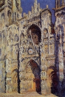 Rouen Cathedral, the Portal and the Tour d'Albane, Full Sunlight painting reproduction, Claude Monet
