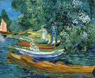 Rowing Boats on the Banks of the Oise painting reproduction, Vincent Van Gogh