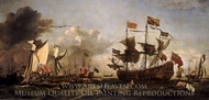 Royal Visit to the Fleet in the Thames Estuary, 6 June 1672 painting reproduction, Willem Van De Velde, The Younger
