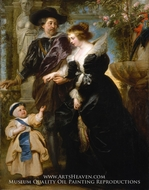 Rubens, His Wife Helena Fourment, and Their Son Frans painting reproduction, Peter Paul Rubens