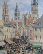 Rue de l'Epicerie, Rouen (Effect of Sunlight) painting reproduction, Camille Pissarro