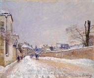 Rue Eugene Moussoir at Moret: Winter painting reproduction, Alfred Sisley