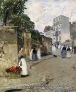 Rue Montmartre, Paris by Childe Hassam