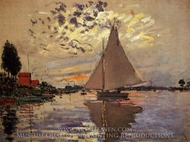 Sailboat at the Petit Gennevilleirs painting reproduction, Claude Monet