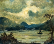 Sailing at Moonlight, Samoa painting reproduction, Louis Michel Eilshemius