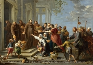 Saint Anthony of Padua Distributing Bread painting reproduction, Willem Van Herp, The Elder