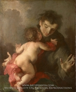 Saint Anthony of Padua with the Infant Christ painting reproduction, Giuseppe Bazzani