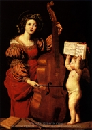 Saint Cecilia with an Angel Holding a Musical Score painting reproduction, Domenichino