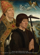 Saint Clement and a Donor painting reproduction, Simon Marmion