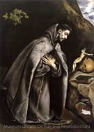 Saint Fracis meditating painting reproduction, El Greco