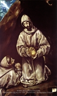 Saint Francis and Brother Leo meditating on Death painting reproduction, El Greco