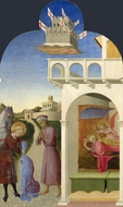 Saint Francis and the Poor Knight, and Francis's Vision painting reproduction, Sassetta