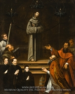 Saint Francis of Assisi Appearing before Pope Nicholas V, with Donors painting reproduction, Antonio Montufar