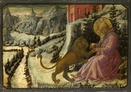 Saint Jerome and the Lion - Predella Panel painting reproduction, Filippino Lippi