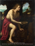 Saint John the Baptist in the Desert painting reproduction, Martino Piazza