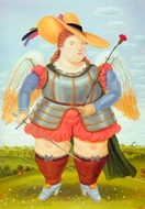 Saint Michael, Archangel painting reproduction, Fernando Botero