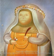 Saint Rose of Lima painting reproduction, Fernando Botero