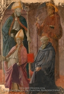 Saints Augustine and Francis, a Bishop Saint, and Saint Benedict by Filippino Lippi