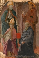 Saints Augustine and Francis, a Bishop Saint, and Saint Benedict painting reproduction, Filippino Lippi