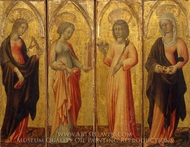 Saints Catherine of Alexandria, Barbara, Agatha, and Margaret painting reproduction, Giovanni Di Paolo