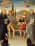 Saints Nicholas of Tolentino, Roch, Sebastian, and Bernardino of Siena, with Kneeling Donors painting reproduction, Benozzo Di Lese Di Sandro Gozzoli