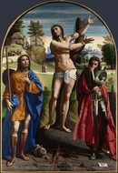 Saints Sebastian, Roch and Demetrius painting reproduction, Ortolano