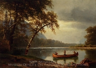 Salmon Fishing on the Cascapediac River painting reproduction, Albert Bierstadt