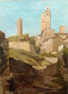 San Gimignano painting reproduction, Elihu Vedder
