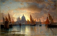 Santa Maria della Salute, Sunset painting reproduction, William Stanley Haseltine