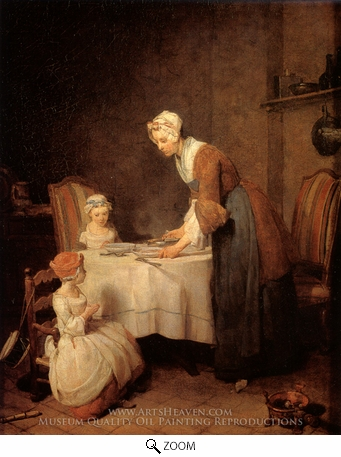Painting Reproduction of Saying Grace, Jean Simeon Chardin