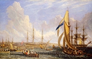 Scene in Plymouth Sound in August 1815 painting reproduction, John James Chalon