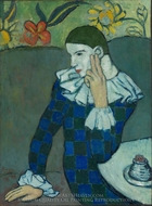 Seated Harlequin painting reproduction, Pablo Picasso (inspired by)