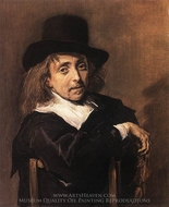 Seated Man Holding a Branch painting reproduction, Frans Hals