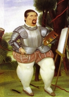 Self-Portrait as Spanish Conquistador painting reproduction, Fernando Botero