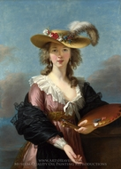 Self-Portrait in a Straw Hat painting reproduction, Louise Elisabeth Vigee-Lebrun