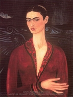 Self-Portrait in a Velvet Dress painting reproduction, Frida Kahlo