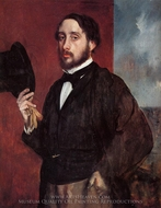 Self-Portrait Saluting painting reproduction, Edgar Degas