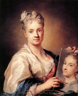 Self-Portrait with a Portrait of Her Sister painting reproduction, Rosalba Carriera