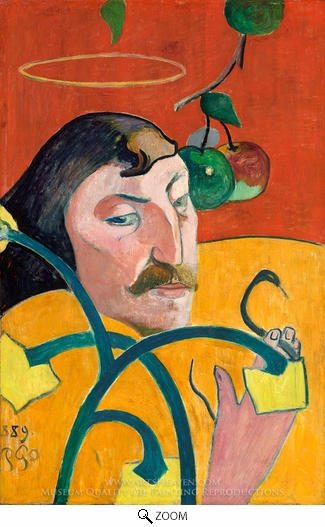 Painting Reproduction of Self-Portrait with Halo, Paul Gauguin