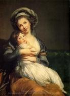 Self-Portrait with Her Daughter painting reproduction, Louise Elisabeth Vigee-Lebrun