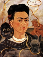 Self-Portrait with Small Monkey painting reproduction, Frida Kahlo