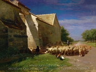 Sheep Leaving a Farmyard painting reproduction, Charles-Emile Jacque